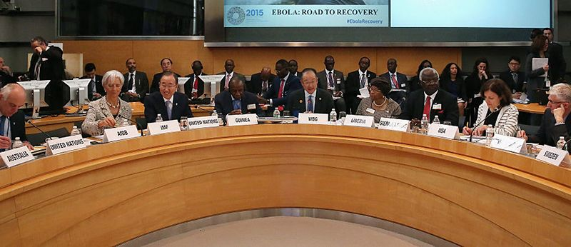 WASHINGTON, DC - APRIL 17: World Bank Group President Jim Kim (C) leads a meeting with finance and development ministers and international partners and Guinea President Alpha Conde, Liberia President Ellen Johnson Sirleaf and Sierra Leone President Ernest Bai Karoma about the ongoing efforts to recover from the Ebola outbreak in West Africa during the World Bank- International Monetary Fund Spring Meetings April 17, 2015 in Washington, DC. The World Bank announced Friday that it would provide an additional US$650 million over the next year to help Guinea, Liberia and Sierra Leone to recover from the social, economic and health impact of the Ebola crisis.