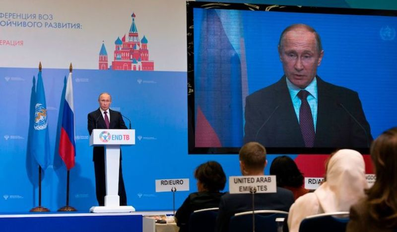 Russian President Vladimir Putin delivers a speech at the World Health Organisation (WHO) global ministerial conference on ending the tuberculosis epidemic, Moscow, November 16, 2017.