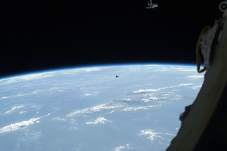 A small ball-shaped science satellite is featured in this image photographed by an Expedition 32 crew member after its deployment during a session of extravehicular activity (EVA). ([Photo](https://www.flickr.com/photos/nasa2explore/7839180934/in/photolist-5nemUe-8scaUf-4rYooW-9ZkRpX-8Ftoy-6st2wX-Bg9x7-73TMFP-4tXEsd-c8opv-c8mUH-7N67Ur-ca3i9-5kC2LG-5nesgv-qkzP1-2c5YwGV-5niEoq-7okWJS-hKRzE-tSa1Z-jU9j35-c9TiJ-dryaz-2EkiUn-c8neE-QuL7xm-oy14S-SFvh37-c8paS-cWHRnY-fLCfiL-8gzd3i-6JHao7-2eK1nyh-iQ1y8-UG4cAf-QHQxBB-8DkjUH-pTZwjY-EfMsoH-EAipx-c9TiL-2eK1Adf-5kZv42-dKhL5W-c8mBu-2ASsTy-PnXX8-cpci7) by NASA Johnson is licensed under [CC by NC 2.0](https://creativecommons.org/licenses/by-nc/2.0/))
