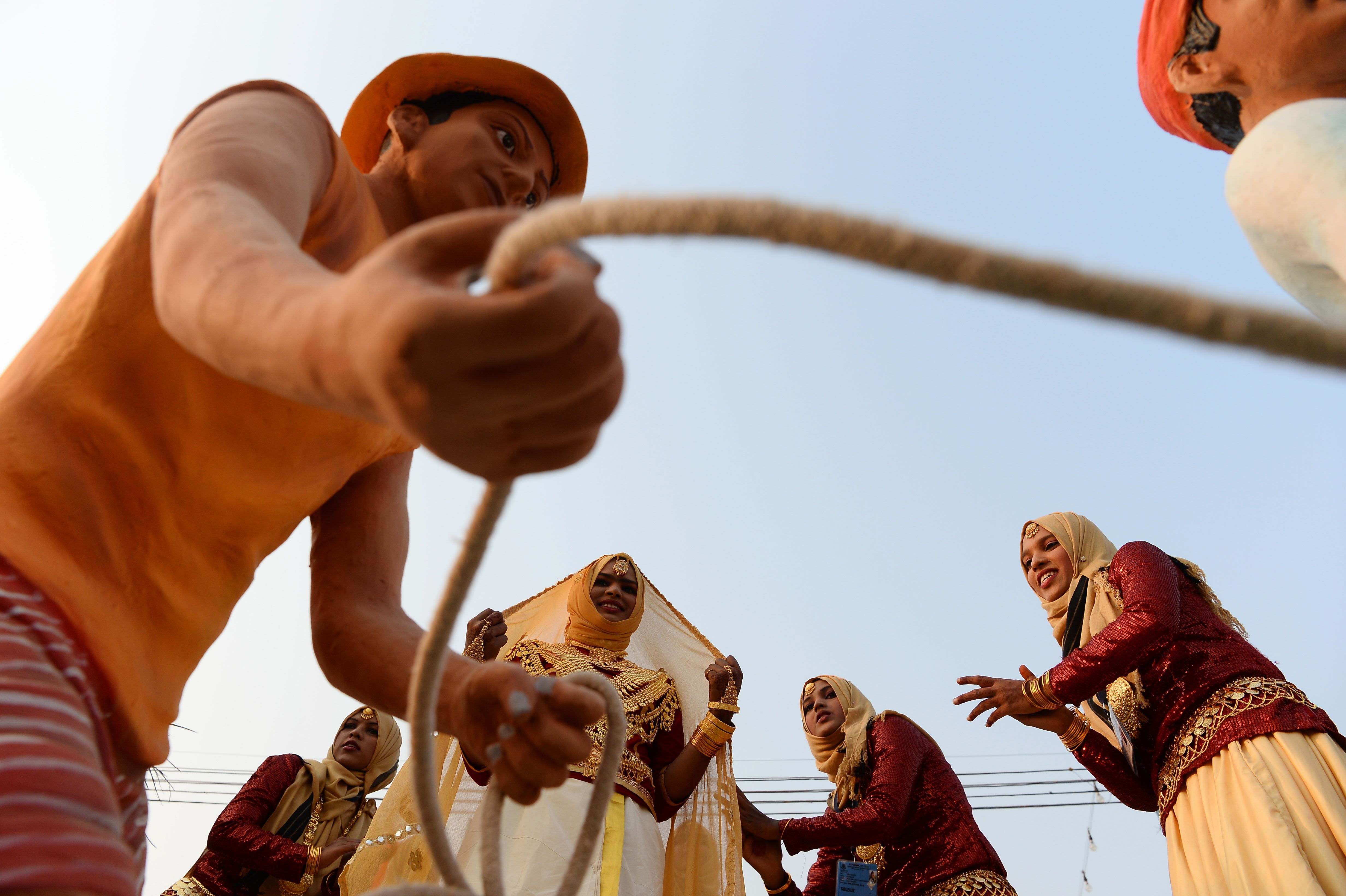 Artists from Lakshadweep perform during a press preview of floats participating in the forthcoming Republic Day parade in New Delhi on January 22, 2018. (SAJJAD HUSSAIN/AFP via Getty Images)