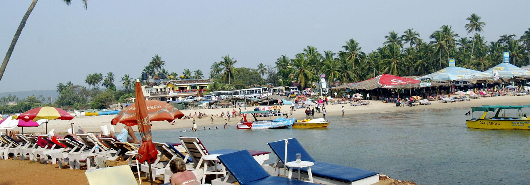 Tourists relax on sunbeds at Baga beach in Goa. (SAJJAD HUSSAIN/AFP/Getty Images)