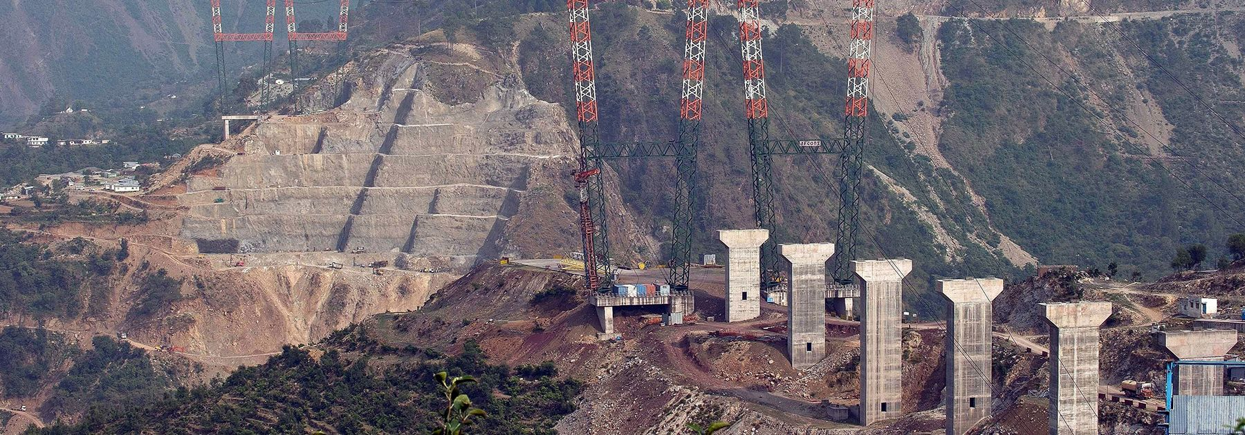 The site of the under-construction world's highest railway bridge over the Chenab river in Kauri. (PRAKASH SINGH/AFP/Getty Images)