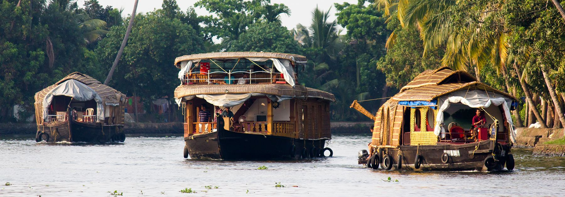 Houseboats in Alleppey, Kerala. (Saad Faruque, licensed under CC BY-SA 2.0)