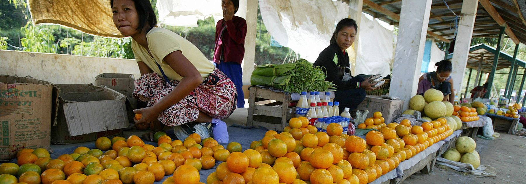 Mizo women sell fruit and vegetables at the roadside in Aizawl, capital of the north-eastern state of Mizoram. (DIPTENDU DUTTA/AFP/Getty Images)