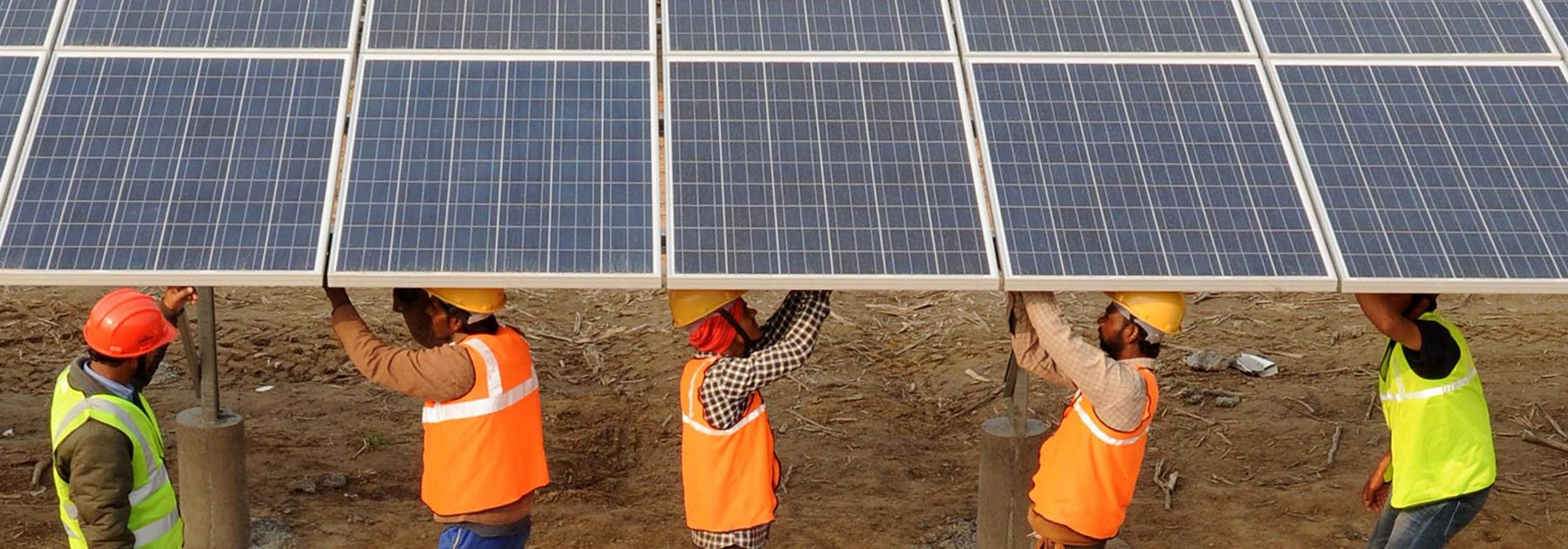 Workers construct part of the France-India Solar Direct Punjab Solar Park project in Muradwala. (NARINDER NANU/AFP/Getty Images