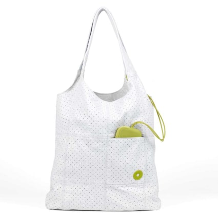 "Tintamar ""Shopping bag"" Bag & Charms en cuir perforé optique"