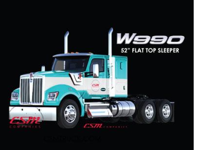 "Introducing the Kenworth W990 52"" Flat Top Sleeper"