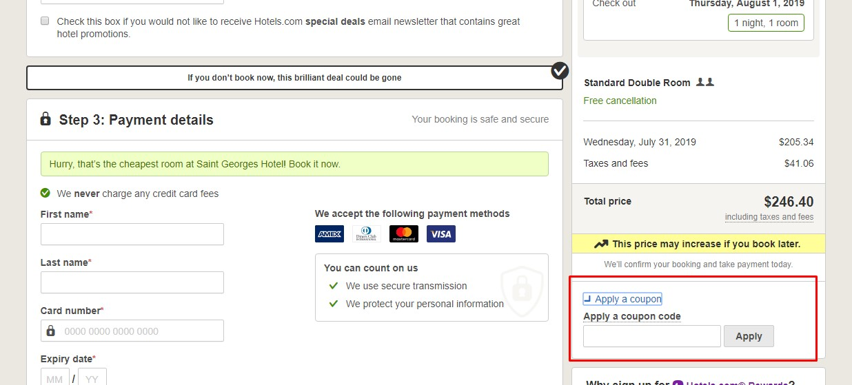 Apply Hotels.com Coupon Code