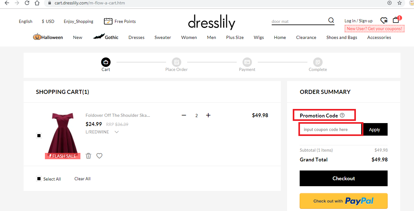 Apply Dresslily Coupon Code