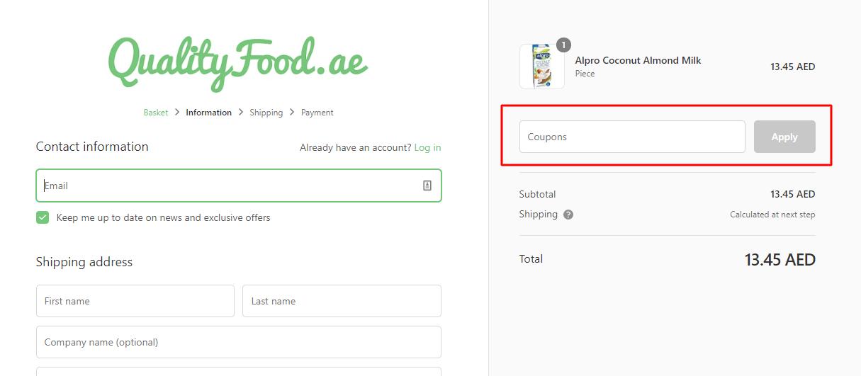 Use Quality Food Coupon Code