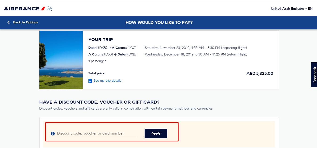 Use Air France Coupon Code
