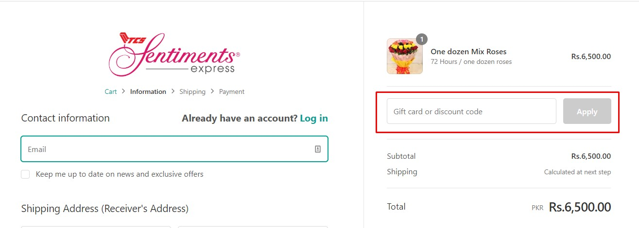 Use Sentiments Express Discount Code