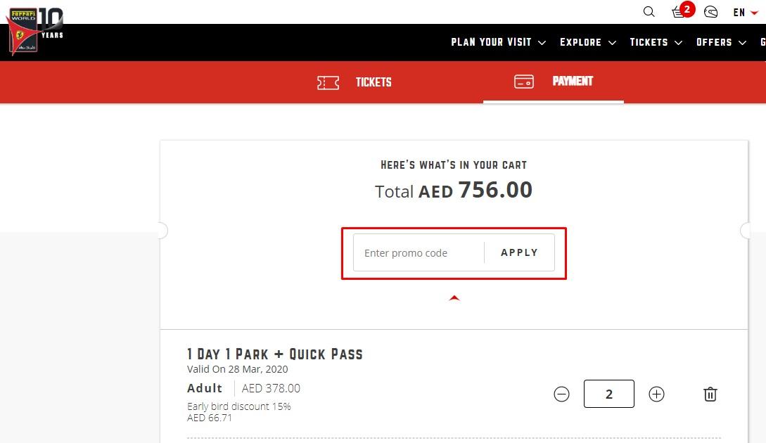 Use Ferrari World Abu Dhabi Discount Codes