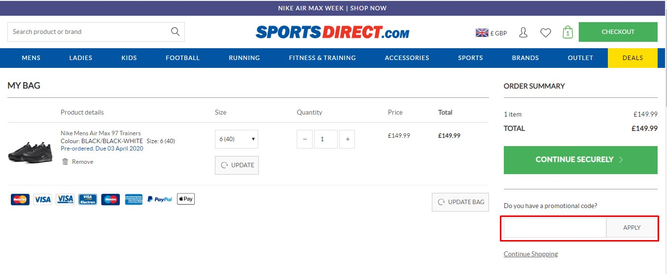 Apply Sports Direct Coupon Code
