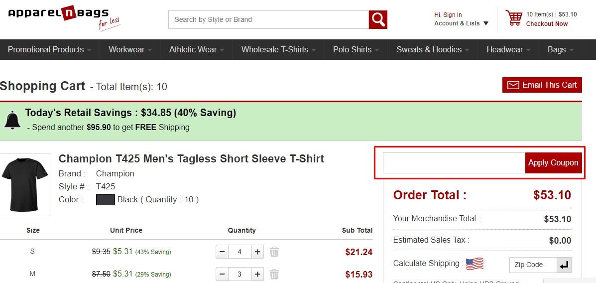 Use Apparel N Bags coupon code