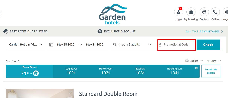 Use Garden Hotels coupon Code
