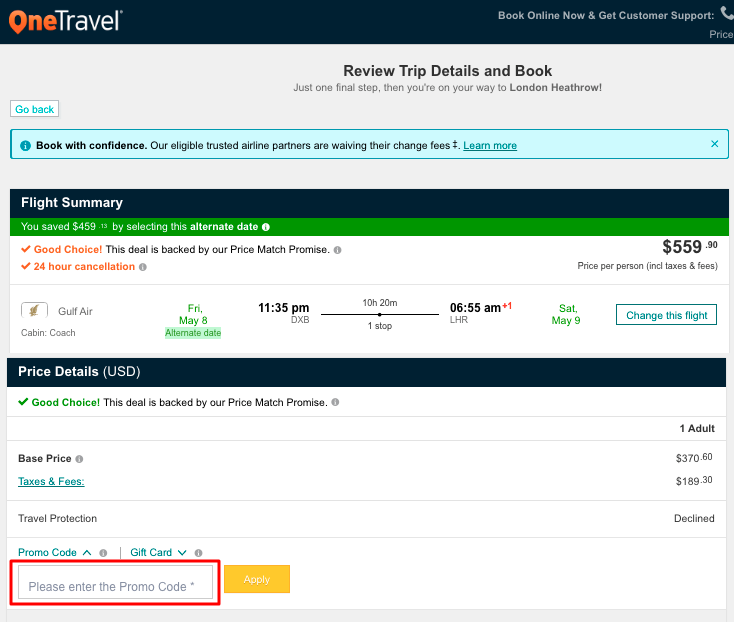 Use Onetravel Coupon Code