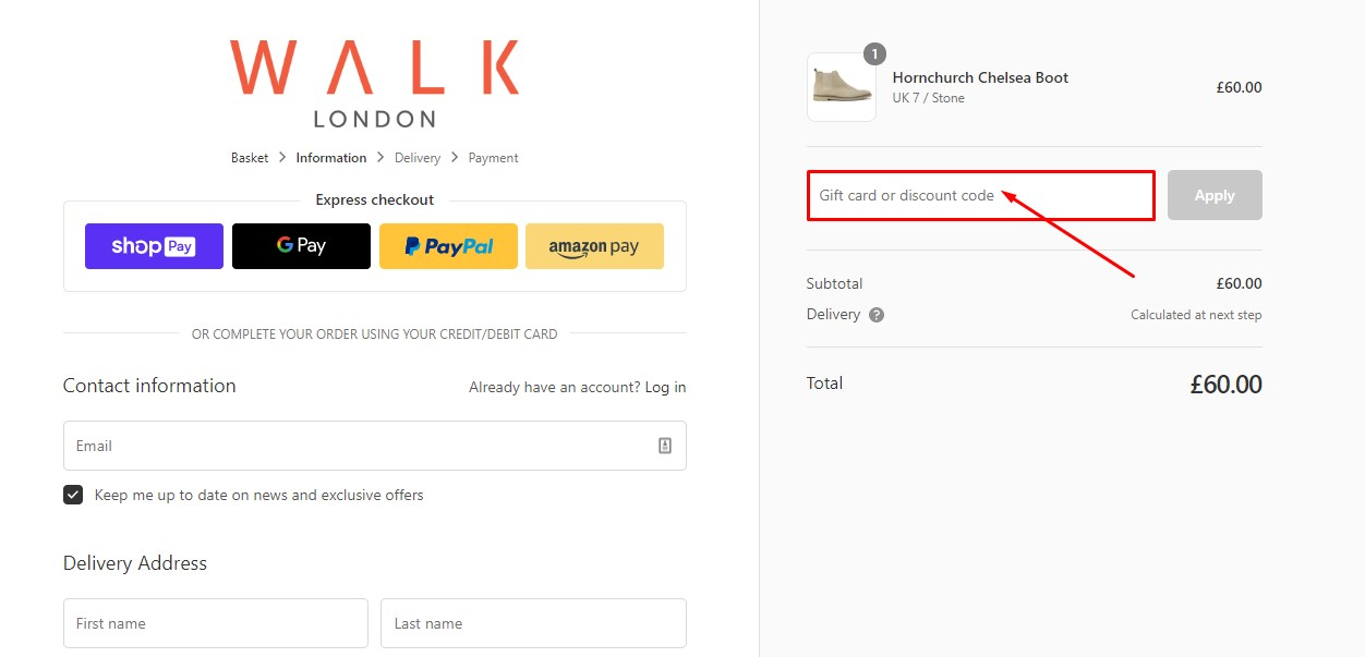 Use Walk London Shoes Discount Code