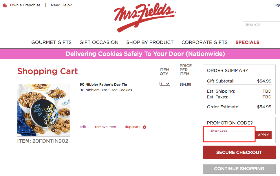 Use Mrs. Fields Coupon Code