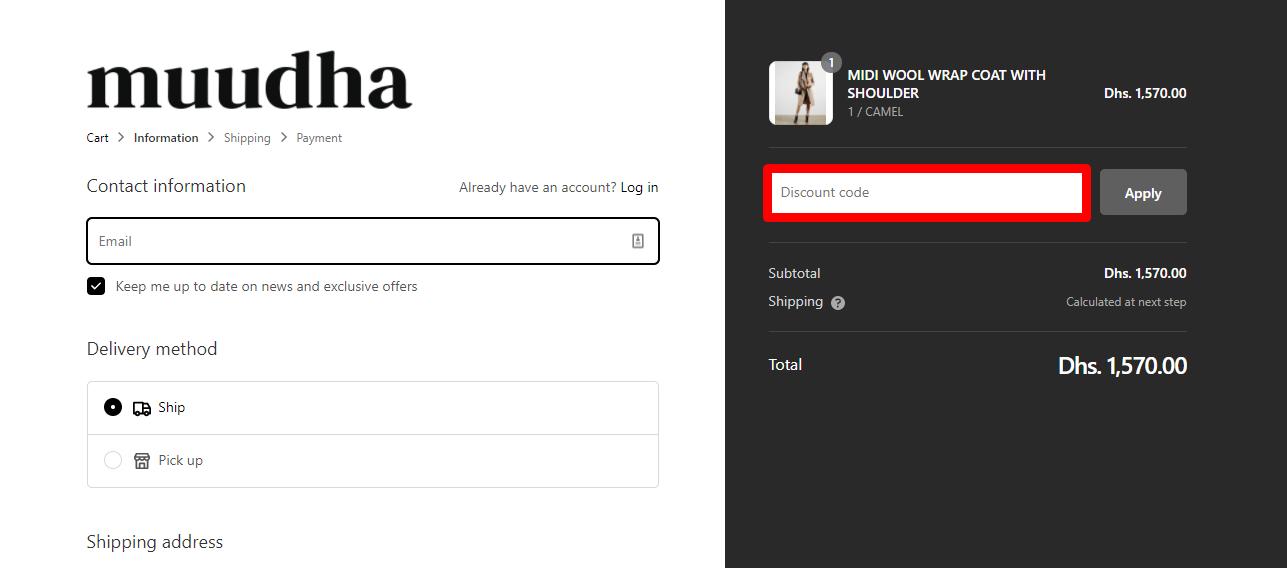 Use Muudha Discount Code