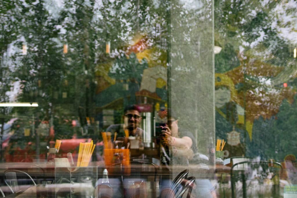 Window reflection of me and Payam