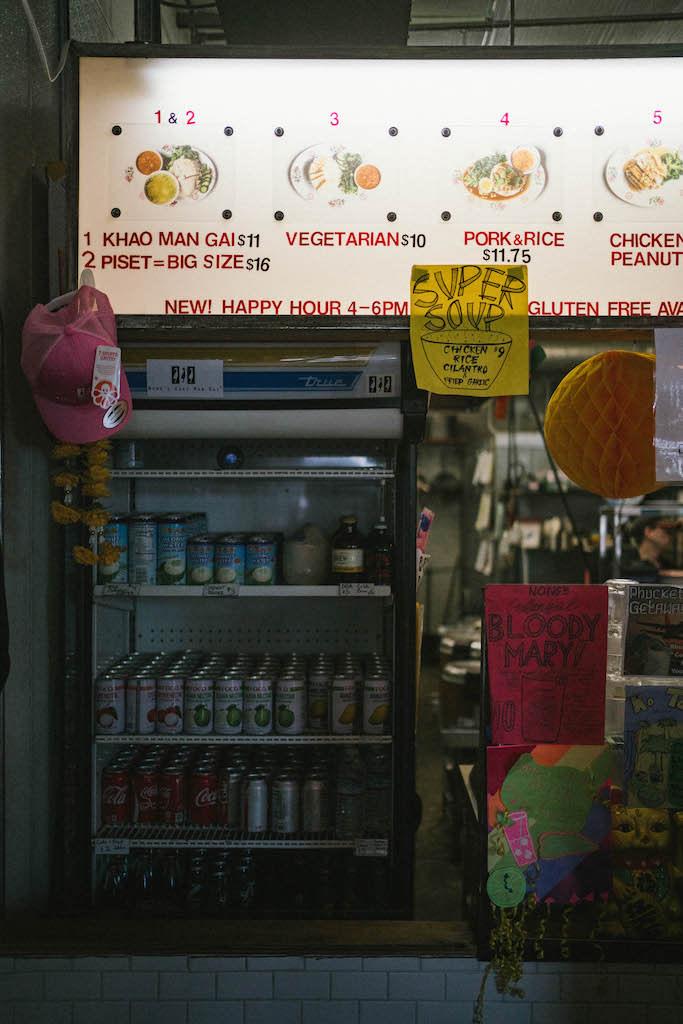 Beverage fridge at Nong's