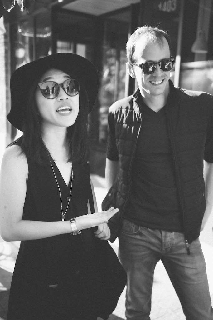 Tom and Jenn wearing sunglasses