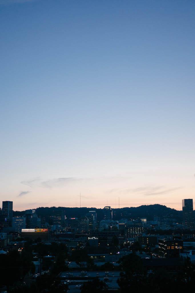 Portland skyline sunset