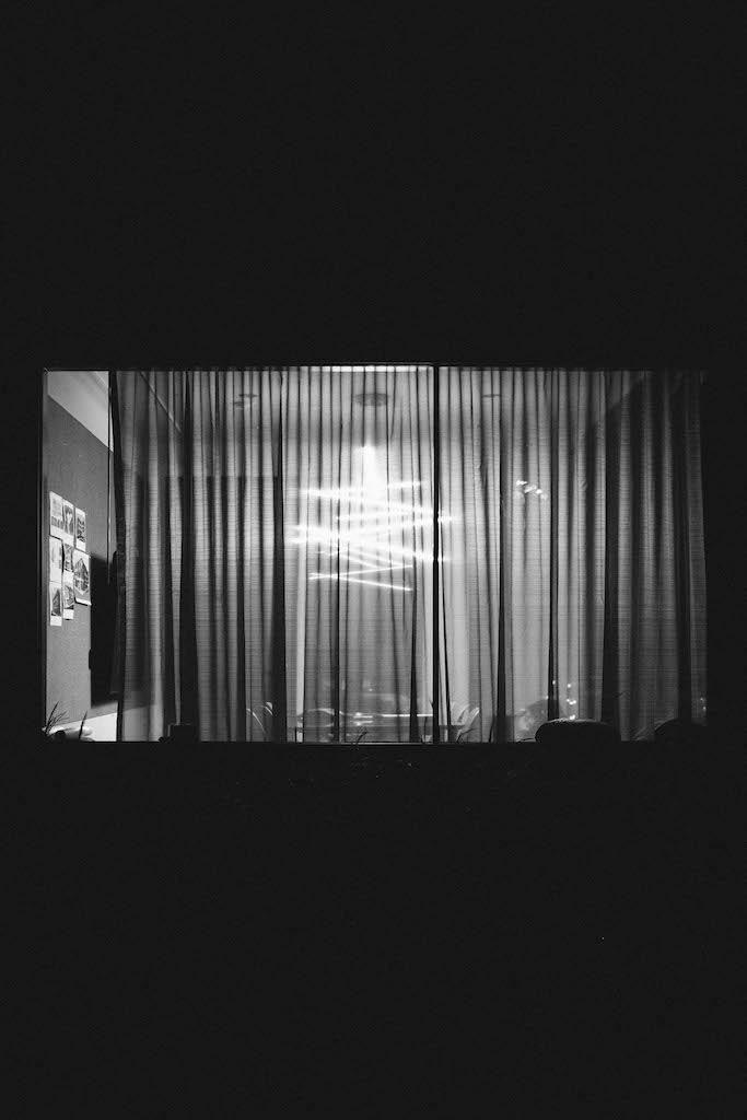 Interesting living room light through a window