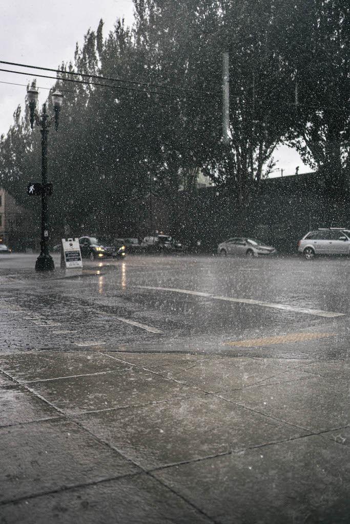 Heavy rain on an intersection