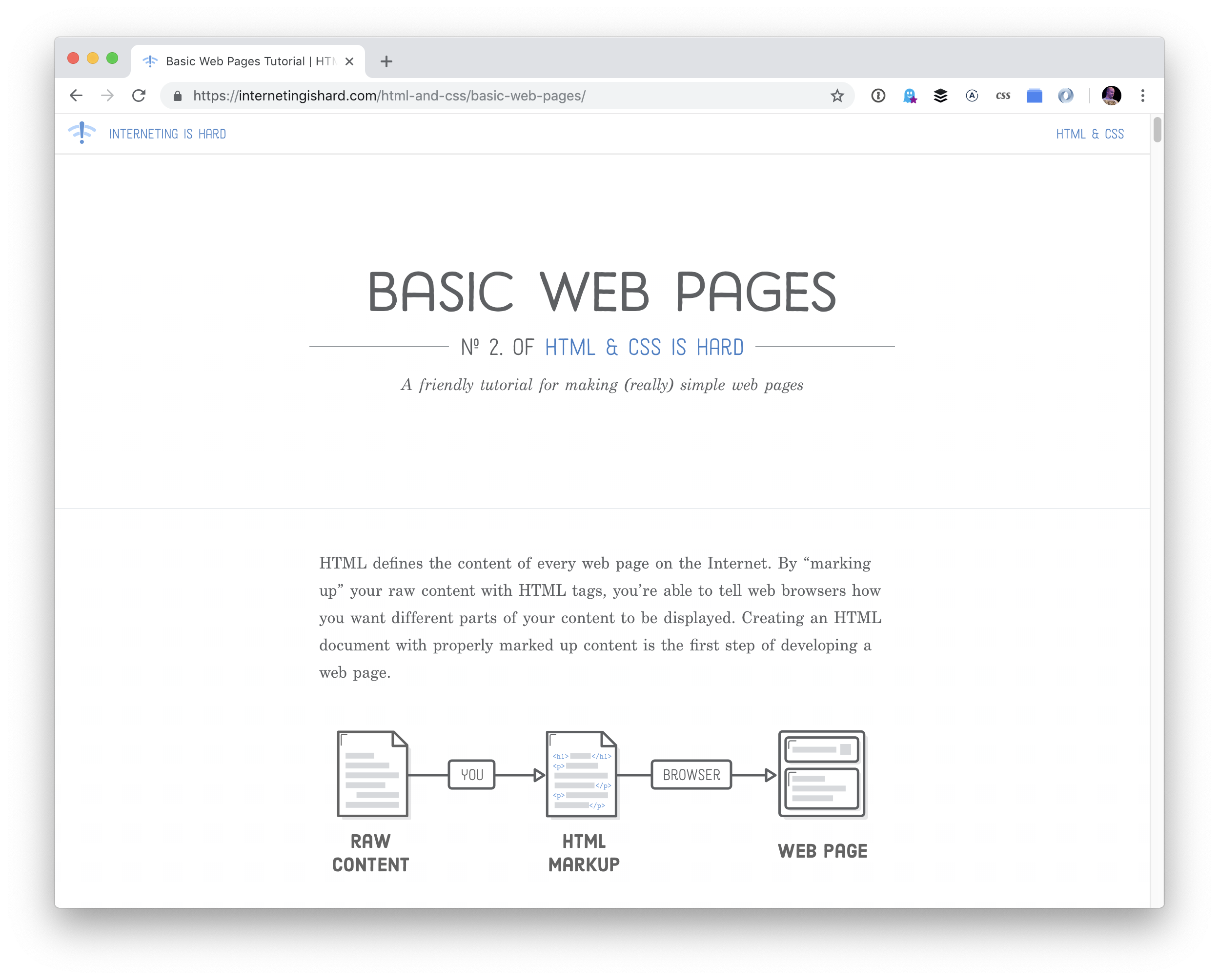 A screenshot of a webpage with a white background and large heading that says Basic Web Pages.