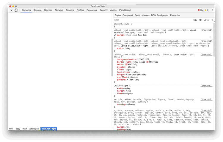 Screenshot showing the mess created in DevTools by Sass' extend feature