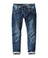 Jeansjogger P78, Used-Waschung, Knopfleiste, Ziernähte Vorderansicht