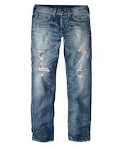 Jeans Rocco, rot unterlegt, Tapered, Destroyed-Look Vorderansicht