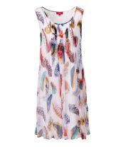 Kleid, abnehmbare Kette, Krepp-Optik, ausgestellt, elegant Vorderansicht
