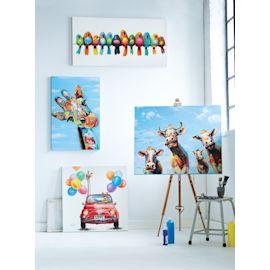 Bild mit bunten Vögeln Acrylfarbe a...