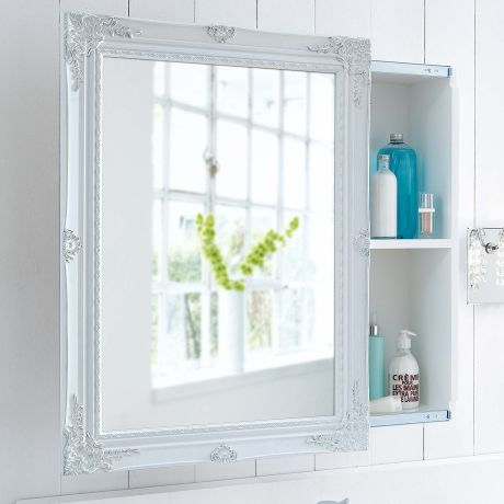 Spiegelschrank, Schiebetür, Zwei Innenfächer, Romantik Look, MDF Katalogbild