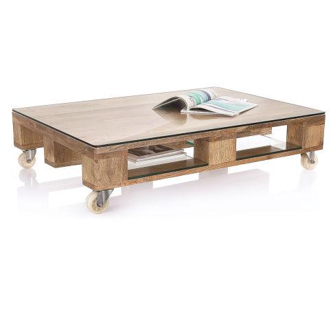 couchtisch rollbar industrial look mango massiv glas metall couchtische tische m bel. Black Bedroom Furniture Sets. Home Design Ideas
