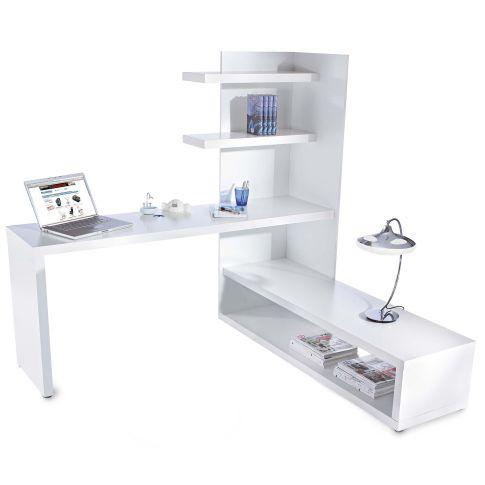 schreibtisch mit eckregal b ro wohnen. Black Bedroom Furniture Sets. Home Design Ideas