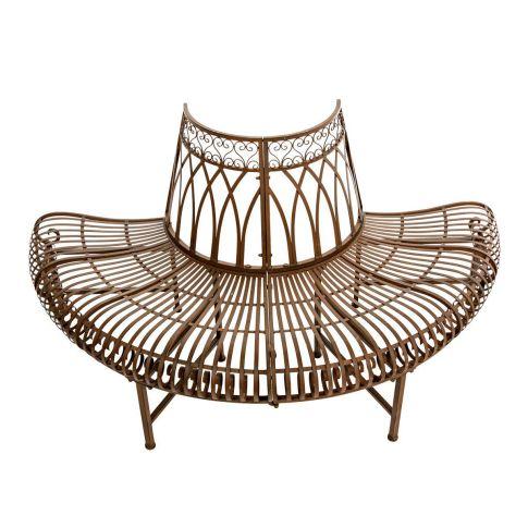 halbe gartenbank metall baum metall antik braun gartenb nke gartenm bel garten. Black Bedroom Furniture Sets. Home Design Ideas
