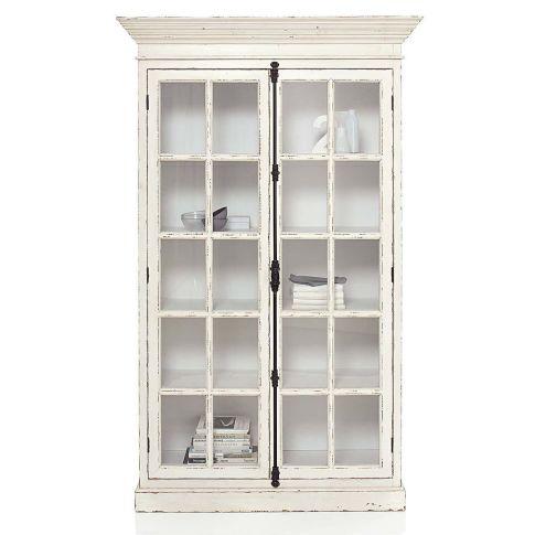vitrinenschrank 5 f cher shabby chic kiefer mdf glas. Black Bedroom Furniture Sets. Home Design Ideas