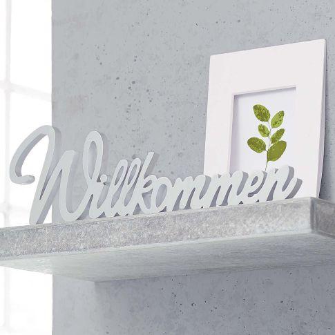 deko schriftzug willkommen mdf dekoartikel dekoration. Black Bedroom Furniture Sets. Home Design Ideas