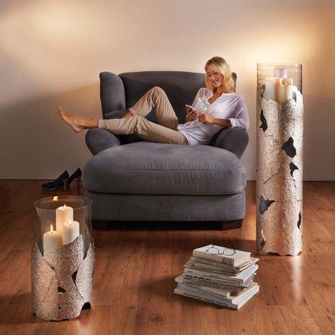 boden windlicht hurricane geh mmertes metall glaszylinder kerzenst nder deko. Black Bedroom Furniture Sets. Home Design Ideas
