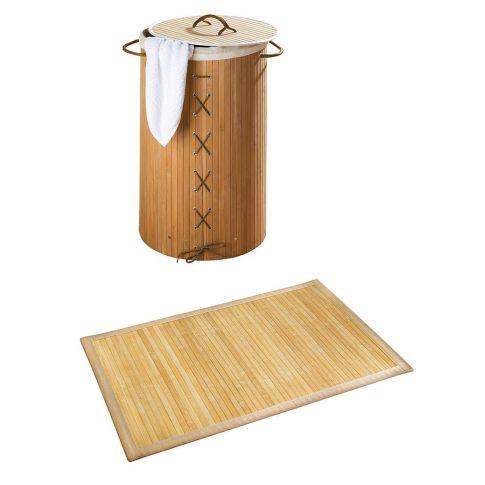 w schekorb badmatte set bamboo 2 tlg bambus bad accessoires bad. Black Bedroom Furniture Sets. Home Design Ideas