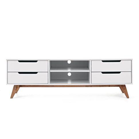 lowboard vier schubladen retro look walnussbaumholz und mdf regale m bel wohnen. Black Bedroom Furniture Sets. Home Design Ideas