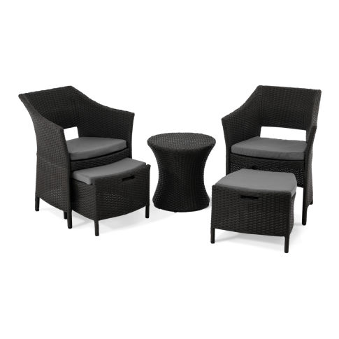 gartenm bel set 5 tlg jay inkl hocker und kissen kunstrattan. Black Bedroom Furniture Sets. Home Design Ideas
