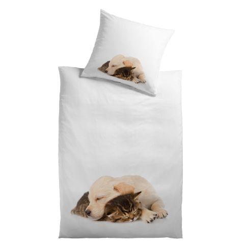 bettw sche hund katze verdeckter rei verschluss tiermotiv. Black Bedroom Furniture Sets. Home Design Ideas