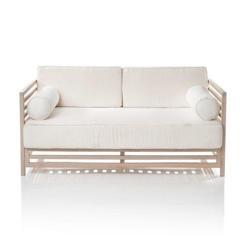 Outdoor-Sofa 2-Sitzer, lackiert, inkl. Sitz- und Rückenkissen, modern, Massivholz Vorderansicht