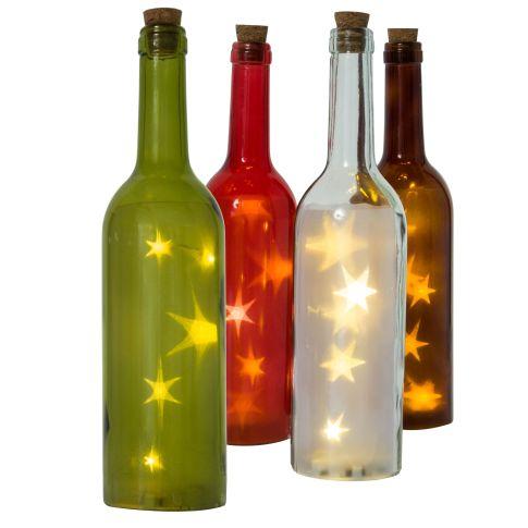beleuchtete led flasche 3d sterne glas kunststoff ca. Black Bedroom Furniture Sets. Home Design Ideas