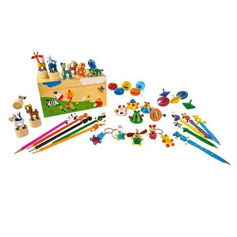 Spiele Set aus Holz, mit Box, 41-tlg., Holz, L 24.5 x T 11.5 x H 13 cm Vorderansicht